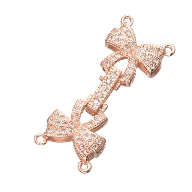 Diy Jewelry Accessories Bijoux Copper Zircon Bowknot Connector Beads For Bracelets Charm Clasp For Jewelry Making Berloques