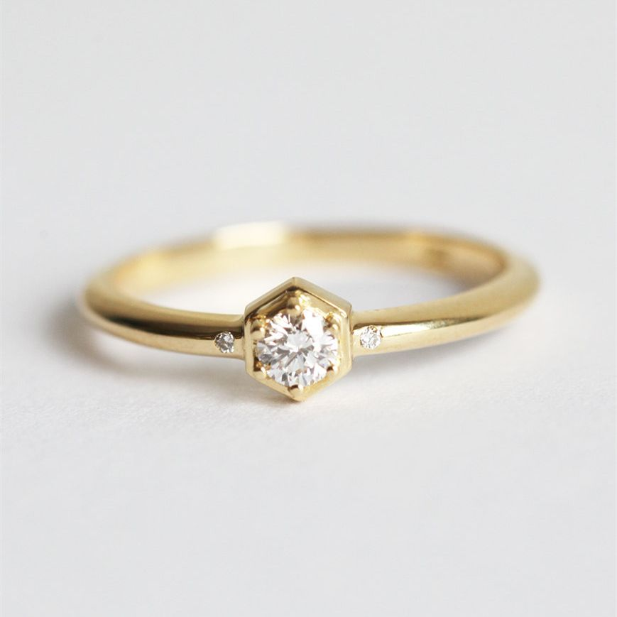 Ring For Women 18k solid Yellow Gold  0.1CT Diamond jewelry Engagement wedding Delicate Diamond Ring