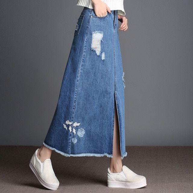 2017 Spring Autumn Fashion Women Denim Skirt Jeans High Waist Ripped Vintage Blue embroidery long A Line Skirts Plus Size S-9XL
