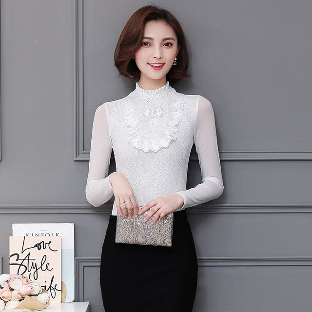 New Spring Women Shirts Patchwork Full Sleeve Mesh Lace Stand Neck 2017 Drills Very White Often Blouse Shirt 806