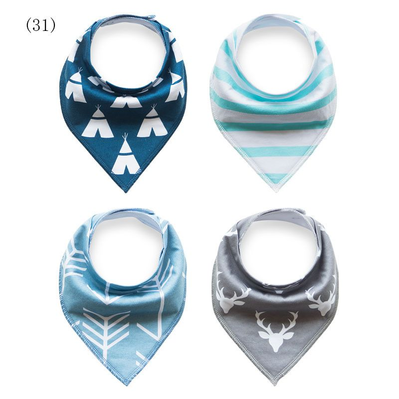 4pcs Baby Bibs Boys Girls Burp Cloths Newborn Babador Bandana Thicken Bibs for Babies Cotton Bib Towel Toddler Triangle Scarf