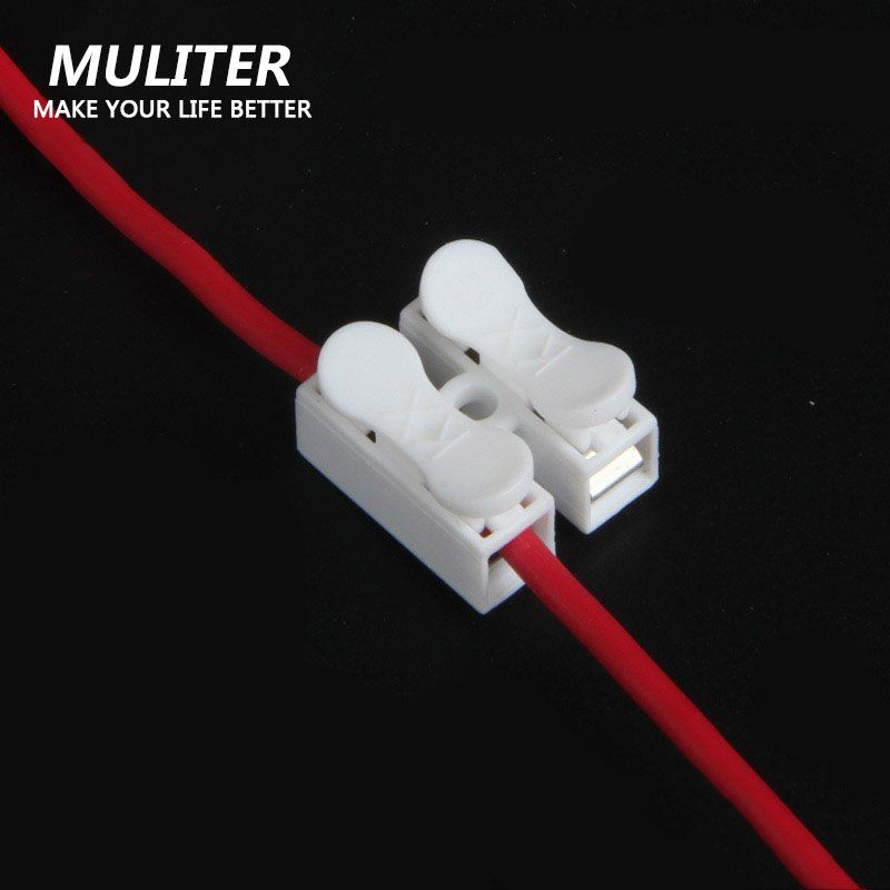 10pcs/lot 2p Spring Wire Quick Connector Splice With no welding no screws Quick Connector cable clamp Terminal Block 2 Way