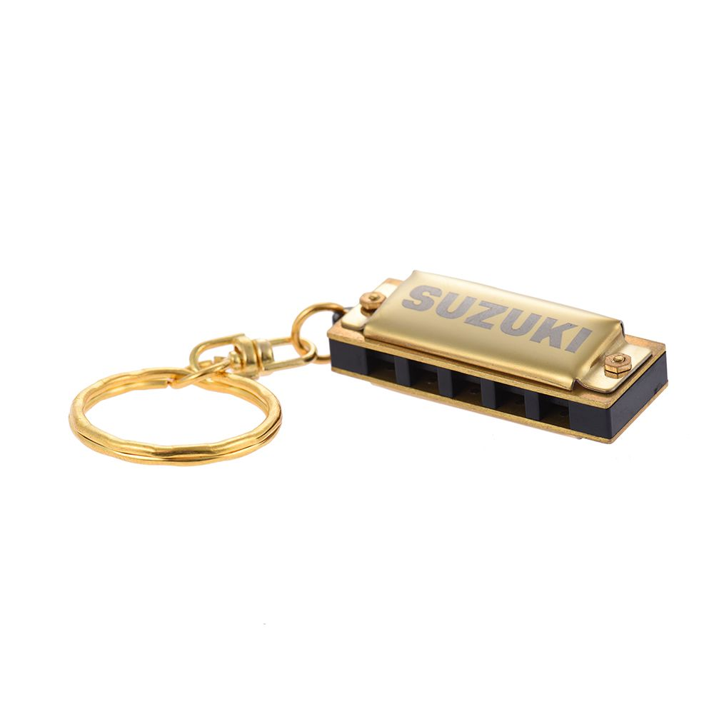 Suzuki Harmonica Mini 5 Holes 10 Tone Harmonica Keychain Key of C Golden