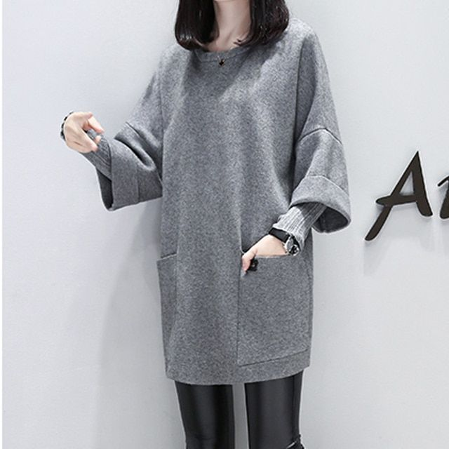 2016 Hoodies O-neck Solid Plus Size Long Sleeve Sweatshirt Women New Casual Patchwork Long Loose Women Winter Hoodies N10519