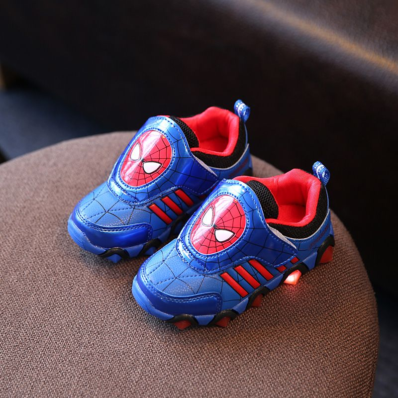 Children Shoes With LED Light Fashion Spiderman Glowing Sneakers Toddlers Girls Boys Led Shoes Kids Sport Shoes Size 26-31