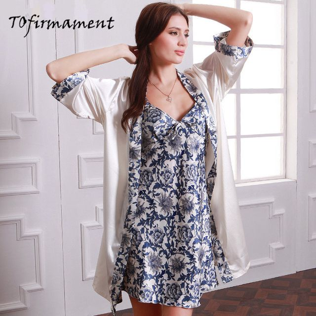 2pcs Women Bathrobes Imitation Silk Robe Sets Sexy Lace Sleepwear High Quality Embroidery Lace V-neck Lingerie Set Home Suit