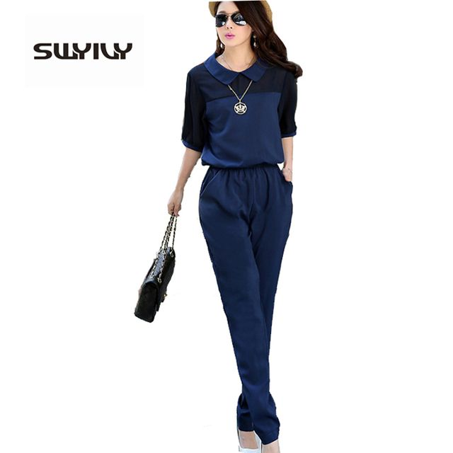 Large Size 3XL 4XL Summer Jumpsuits 2017 One Piece Pants Lapel Elegant Salopette Blue Long Trousers Women Jumpsuits