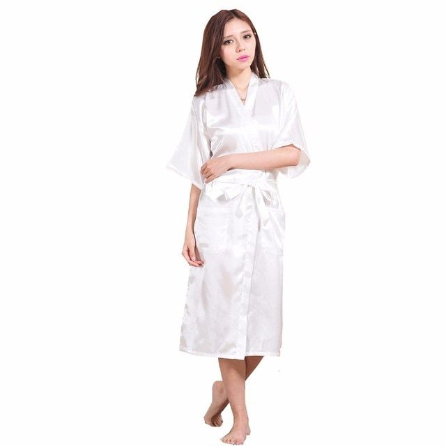 White Female Faux Silk Robe Bathrobe China Women Sleepwear Kimono Bath Gown Nightgown Size S M L XL XXL XXXL Mujer Pijama Zh02E
