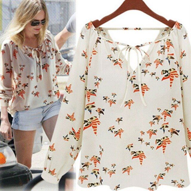 Women Blouse Shirt Summer 2017 Long Sleeve Chiffon Top Prints Casual Loose Blusa Feminino Plus Size