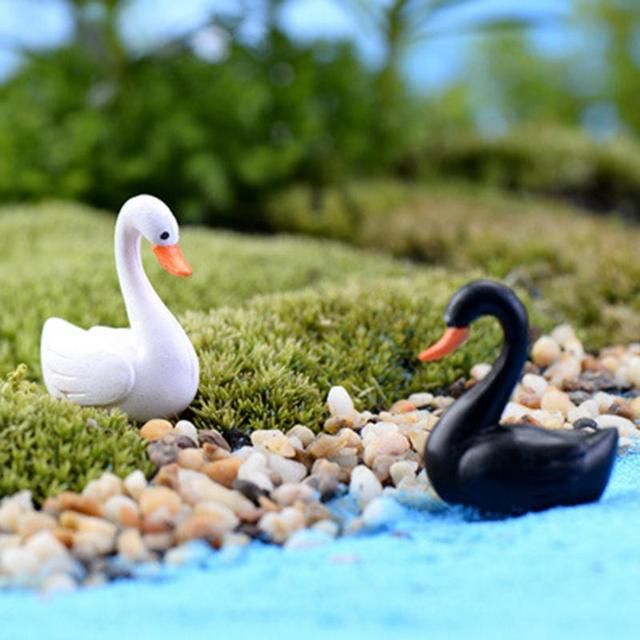 Garden Decor White/Black Swan Garden Ornament Miniature Figurine Plant Pot Fairy