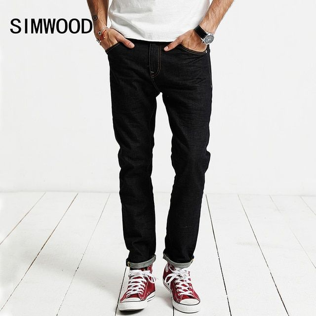 SIMWOOD Jeans Men 2019 Spring  New Jeans Male Cotton Slim Fit Zipper Casual Denim Trousers  High Quality  Brand Clothing SJ6098