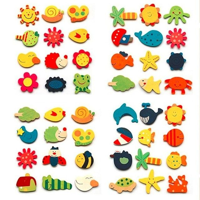 12Pcs/pack Colorful Wooden Magnet Cartoon Pattern Refrigerator Magnet Stickers Various Shapes and Colors Children Toy