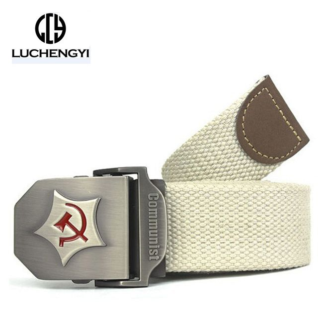 [LCY] New Men Belt Thicken Canvas Communist Military Belt Army Tactical Belt High Quality Strap 110 120 140 cm 12 Colors LB084
