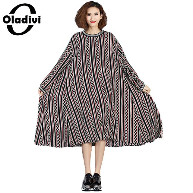 Oladivi Extra Large Plus Size Women Clothing 2017 Spring New Fashion Print Casual Loose Dress Ladies Long Sleeve Vestios Tunic