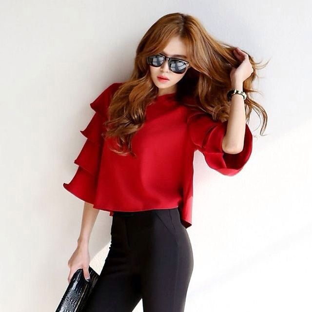 Summer 2017 New Women Flare-Sleeve Blouses & Shirts Fashion Women's Short Pullover Tops Stylish Elegand Brand Blusas femininas