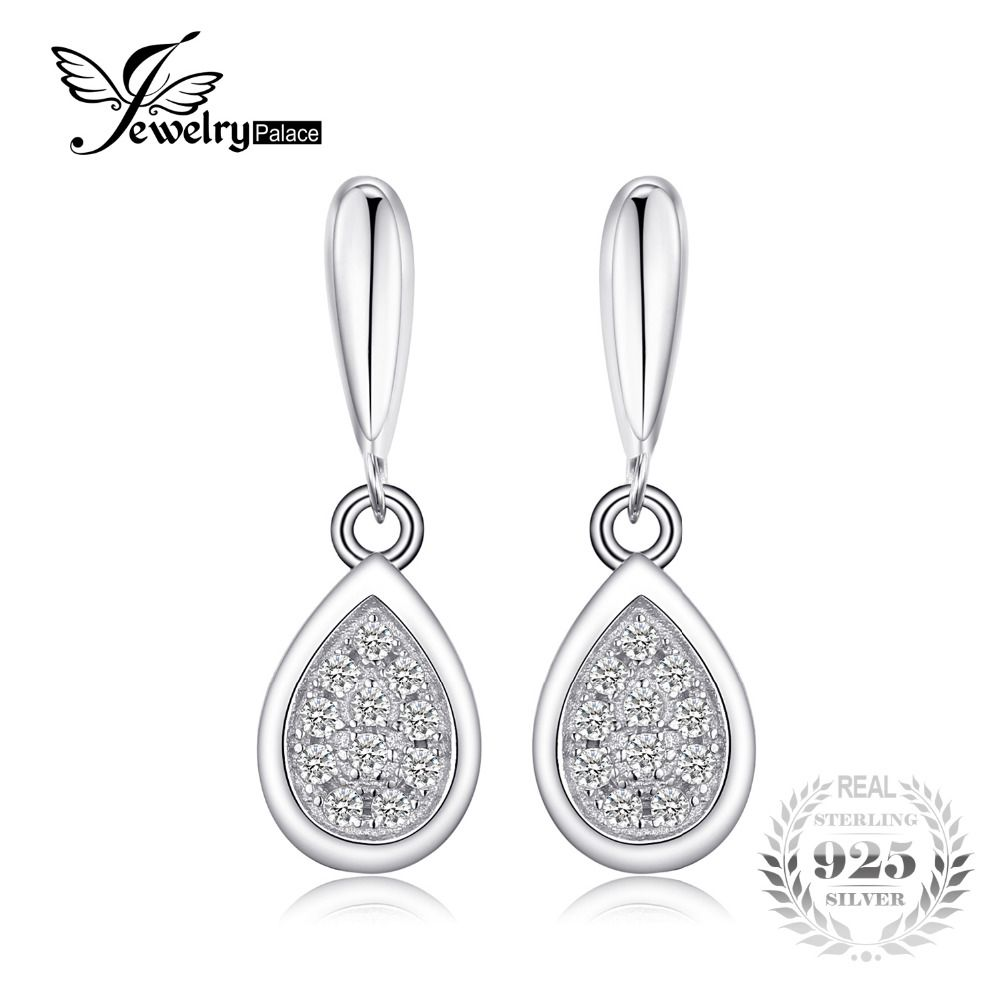 JewelryPalace Solid 925 Sterling Silver Teardrop Dangle Earrings Fine Jewelry Statement Earrings for Women