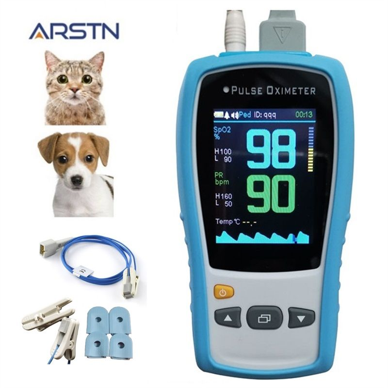2.8 TFT LCD Veterinary handheld pulse oximeter SPO2 PR  home heart Rate monitor Pulsioximetro CE with optional  Temp probe