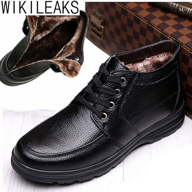 Wikileaks New Fashion 2017 Men Winter Boots Black Brown Snow Boots For Men Ankle Boots Warm With Plush&Fur Fashion Men Shoes