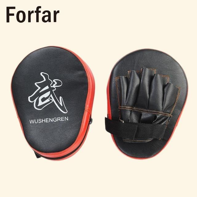 2X Tradition Boxing Pretect Absorb Punches Elbows Mitt MMA Focus Punch Pad Training Glove Karate Black & Red High Quality PU