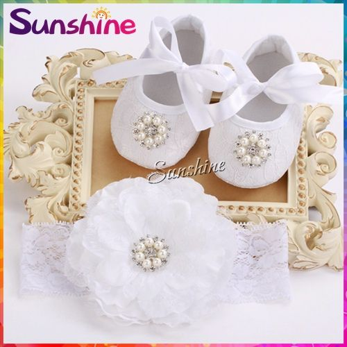 Party decoration baptism Baby shoes headband set,pearl first walker,Rhinestone shabby flower calcados infantil 4 set/lot