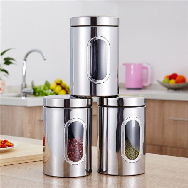 3pcs/set Stainless Steel Window Canister Tea Coffee Sugar Nuts Beans Candy Jar Storage Chest Set Tea Coffee Canisters