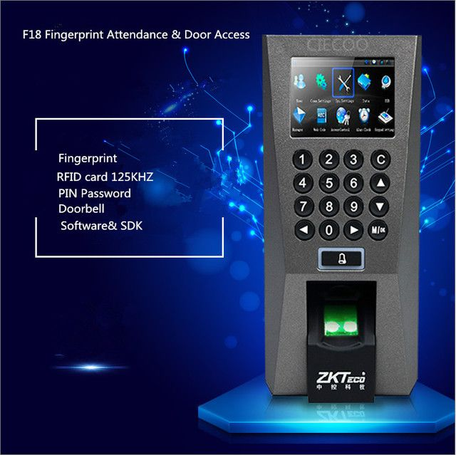 ZK F18 Biometric Fingerprint Access Control and Time Attendence Door Security System USB Fingerprint Scanner with SDK