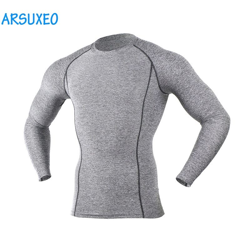 ARSUXEO Mens Compression Shirts Base Layer Men Running Long Sleeves Training Exericise Tights Workout GYM T Fitness Shirt