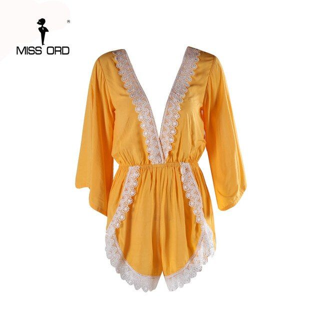 Free Shipping  Missord 2018 Sexy Deep-V Short sleeve Lace stitching yellow color playsuit  FT4333-1