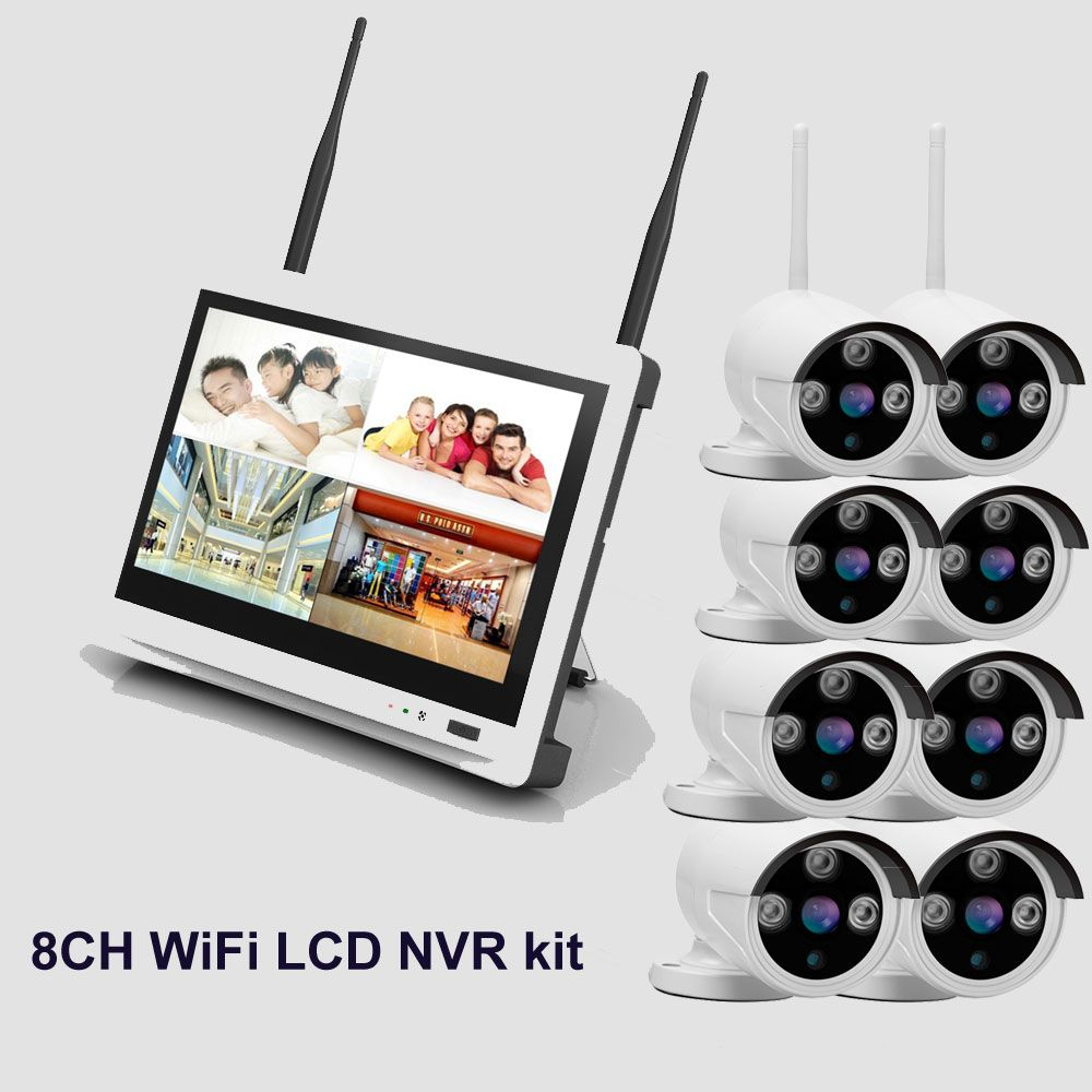New arrival 8ch 720P Outdoor Day night security NVR kit CCTV wifi security camera system with 11'' LCD Screen