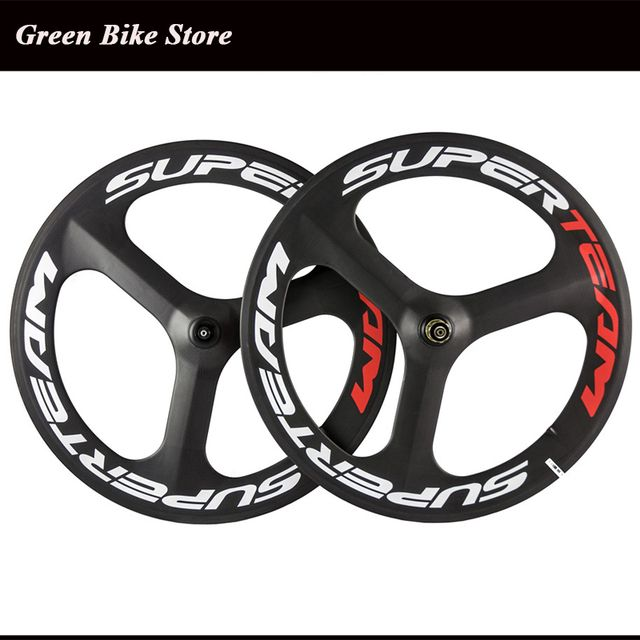 700C Full Carbon Tri Spoke bicycle Wheel Front Rear Wheel For Road / Fixed gear Bike Carbon three 3 Spoke Wheel