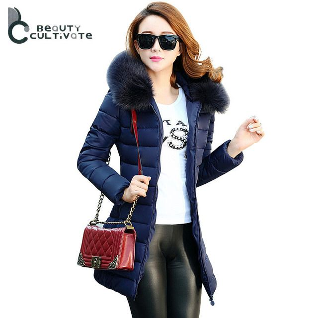 2016 Autumn & Winter Women Parka Outerwear Down cotton  Fur Collar Slim Thickening Hooded Long Coat