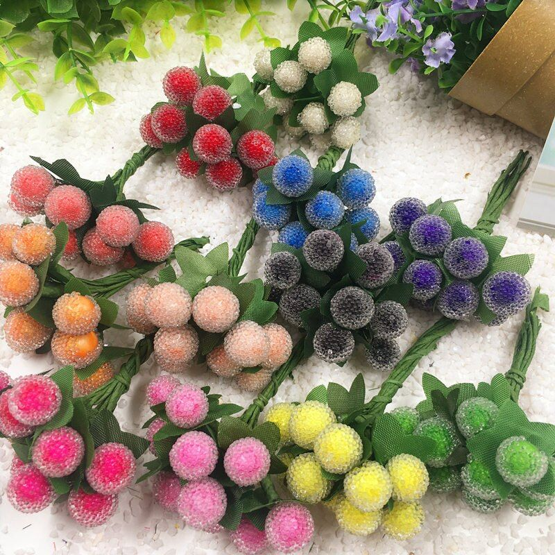 10 PCS/(1 cm) artificial mini stamens red cherry berry bouquet wedding decoration DIY bridal bouquet collage artificial flowers