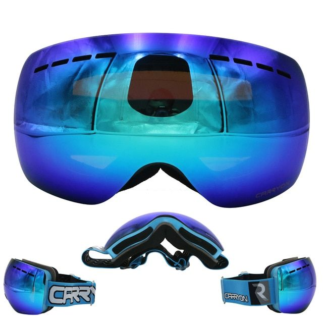 Winter Outdoor  Sports Snowbording UV400 Skiing Eyewear Perforated lens with Good Ventilation Anti-fog No Border Ski Glasses