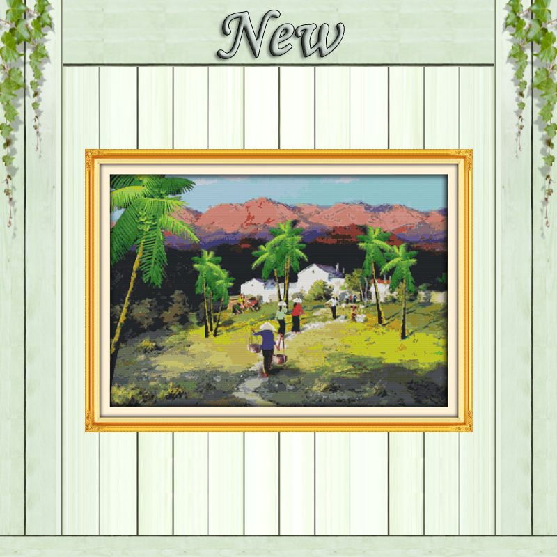 Market Vietnam Folk customs mountain decor painting counted print on canvas DMC 11CT Cross Stitch Needlework Set Embroidery kits