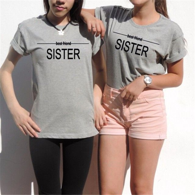 Best Friends T Shirt Women Gift Unbiological Sisters Tumblr Tops Tee Shirts Femme Girls Camisetas Woman Clothing Tshirt XS-2XL