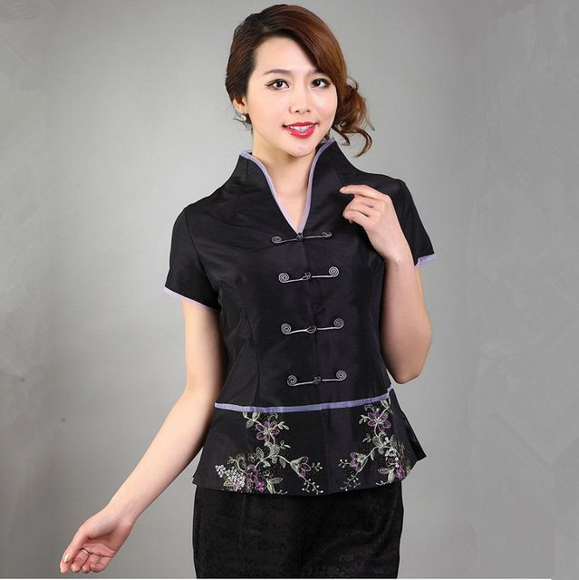 New Arrival Black Shirt Top Chinese Women's Silk Satin V-Neck Blouse Short Sleeves Mujere Camisa Size S M L XL XXL XXXL Mny-006C