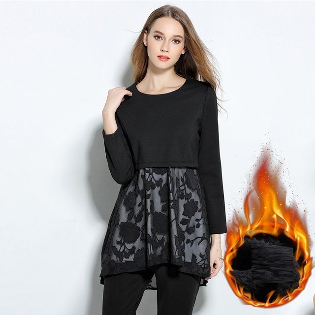 New 2016Winter flare tops for women warm thick fleece lace patchwork middle-long basic shirt casual blouse plus size XXXXXL 2073