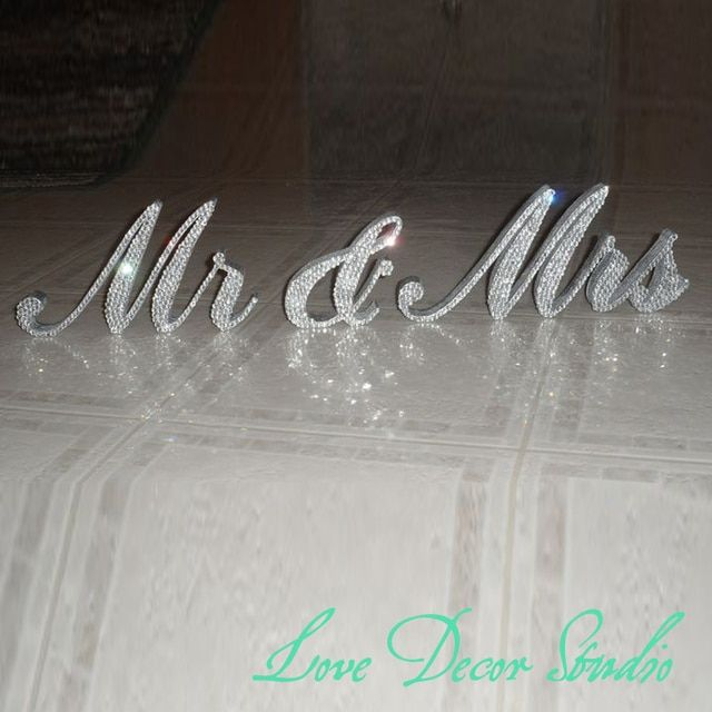 Customize the Sparkling Diamond Crystal mr&mrs  Sign