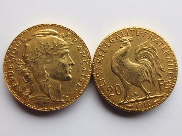 France 20 Francs 1910 Rooster 24K Gold Copy Coin Free Shipping