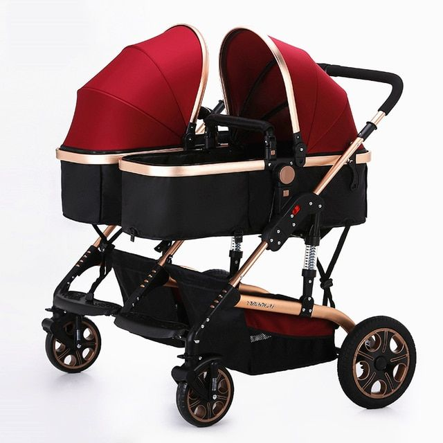 YIBAOLAI High Landscape Twins Baby Stroller Widen Seat Pushchair Folding Stroller 4 Season Shockproof Mutiple Baby Pram Carriage
