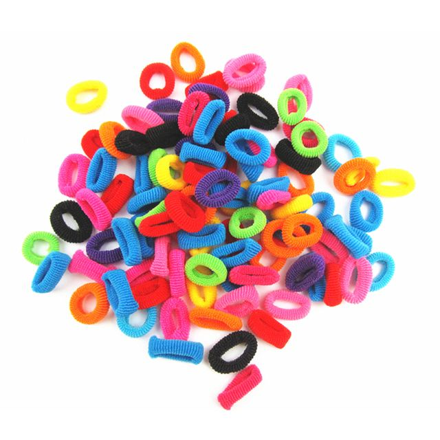 New 100 PCS Candy Color Little Girl Elastic Hair Bands Ring Rope Headwear Hair Styling Accessories