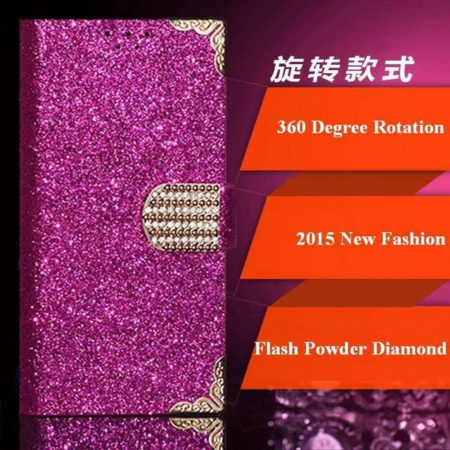 Wexler ZEN 5 Case, 2015 Top Fashion Universal 360 Degree Rotation Flash Powder Diamond Phone Cases for Wexler ZEN 5 / 5 Plus