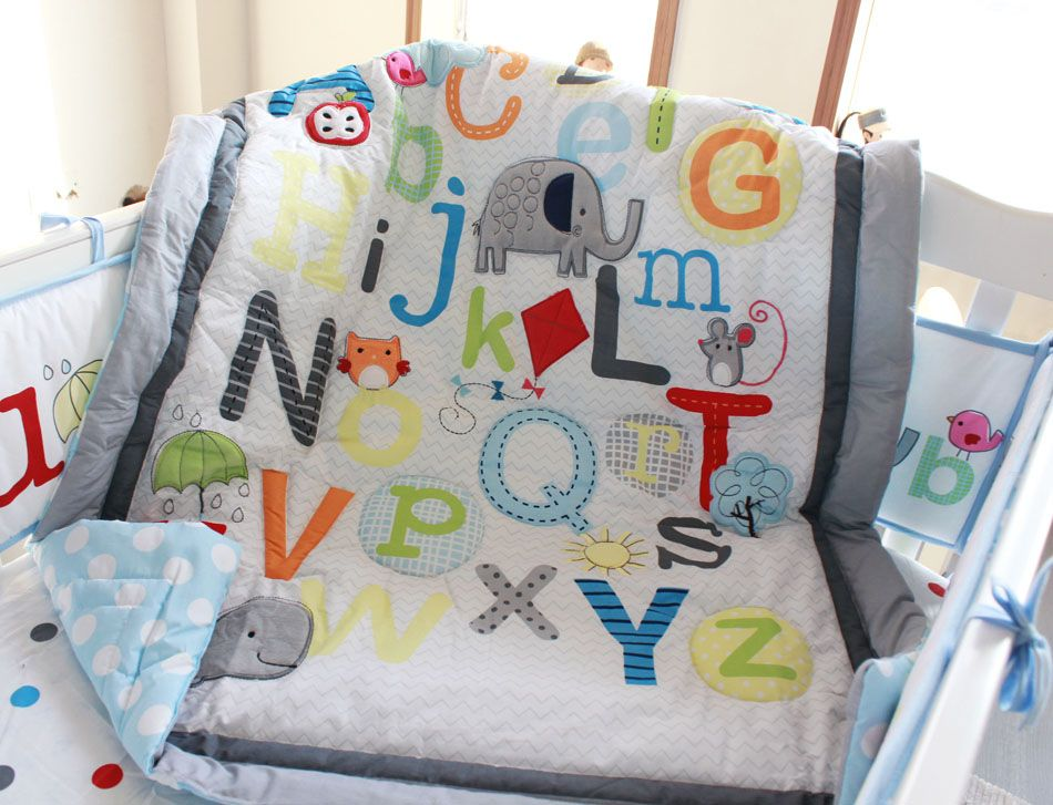 Promotion! 7PCS Baby bedding set English alphabet Baby bumper crib bedding set ,include(bumper+duvet+bed cover+bed skirt)