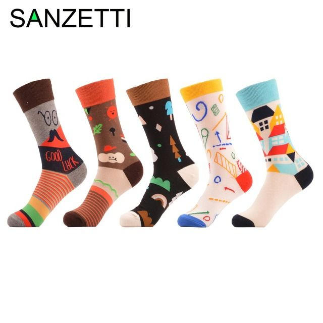 SANZETTI 5 pairs/lot Sale Women's Novelty Combed Cotton Socks Funny Ladies Casual Crew Wedding Socks