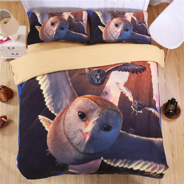 iDouillet 5D Flying Owl Bedding Set for Kids & Adult 4pcs Single Twin Queen King Size Cartoon Duvet Cover Bed Sheet Pillowcases