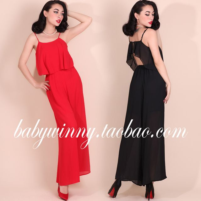 Vintage Palace 2015 Autumn New Chiffon Red Black Solid Backless Rompers Womens Jumpsuit Overalls Sexy Jumpsuit Free Shipping