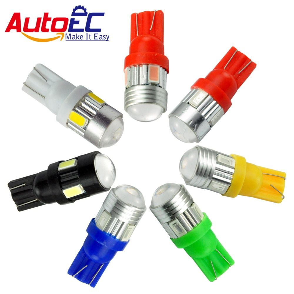 AutoEC 10X Car Parking Lamps Lights Bulbs T10 W5W 194 168 6 LED SMD5630 SMD5730 12V White Blue Red Yellow #LB89