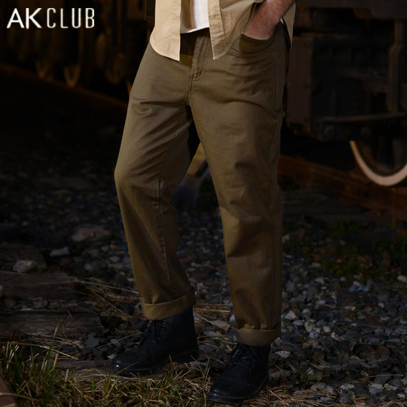 AK CLUB Brand Casual Pants For Men 2017 Classic Straight Pocket Cargo Pants 100% Cotton Pants Straight Cargo Men Pants 1512037