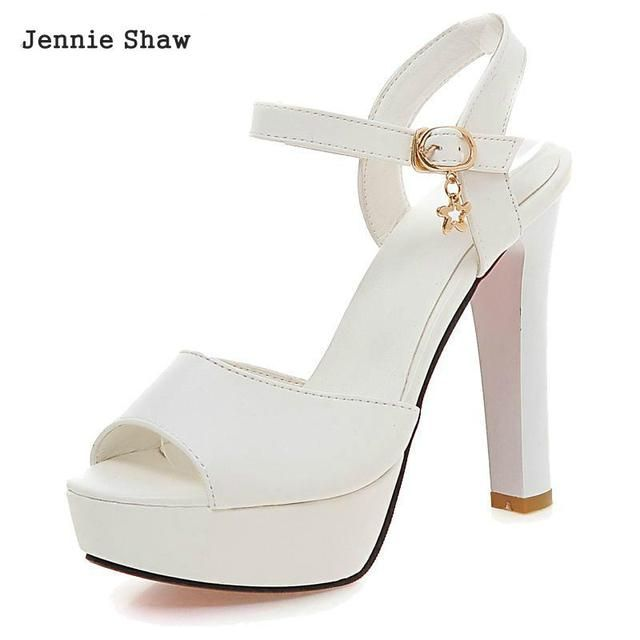 sandals female summer thick heel high-heeled shoes white platform female elegant open toe shoe