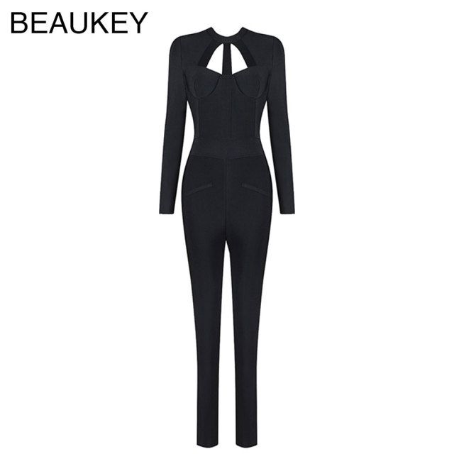 Black Hollow Out Long Sleeve 2016 New Style Rayon High Quality Sexy Women's Bandage Backless Knitted Jumpsuits